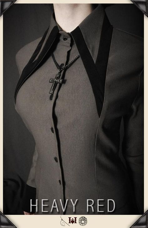 LUST OF MELANCHOLIA GREY GOTHIC DRESS SHIRT