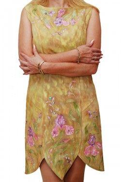 Платье замшевое с росписью и вышивкой камнями Сваровски