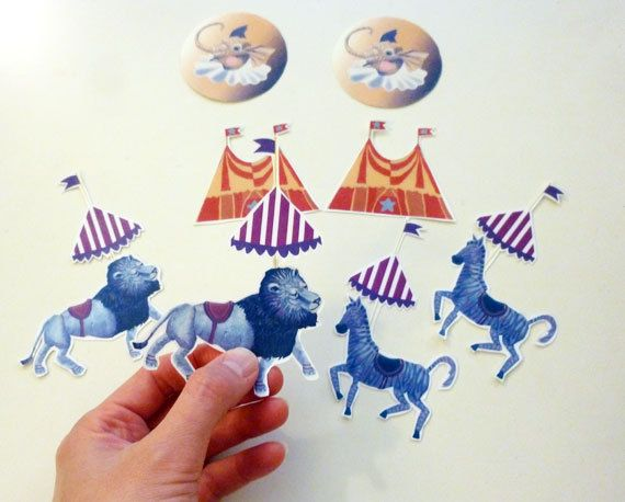 Cool Stickers Circus Animals for Retro Vintage by ArtistInLALALand, $5.00