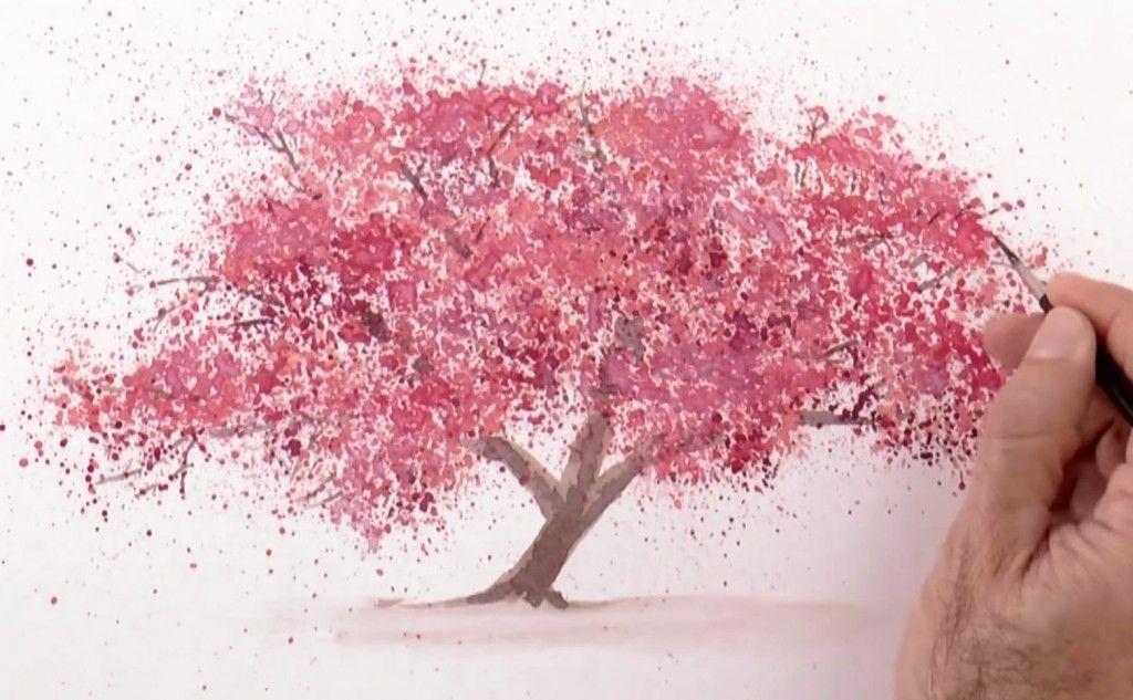 Watercolor Technique To Splatter Cherry Blossom Trees