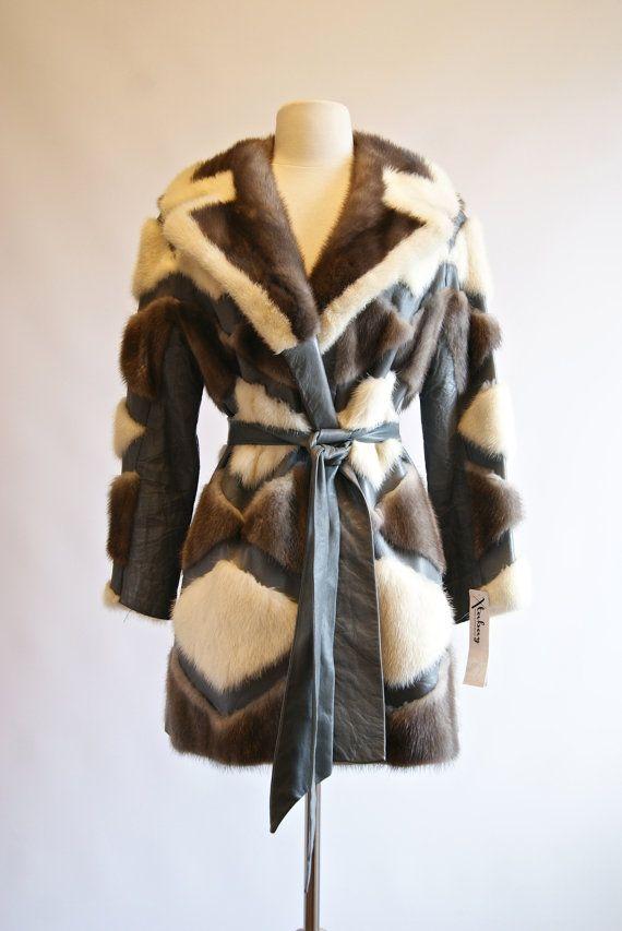 Vintage 70s Patchwork Fur Jacket  70s Mink and by xtabayvintage