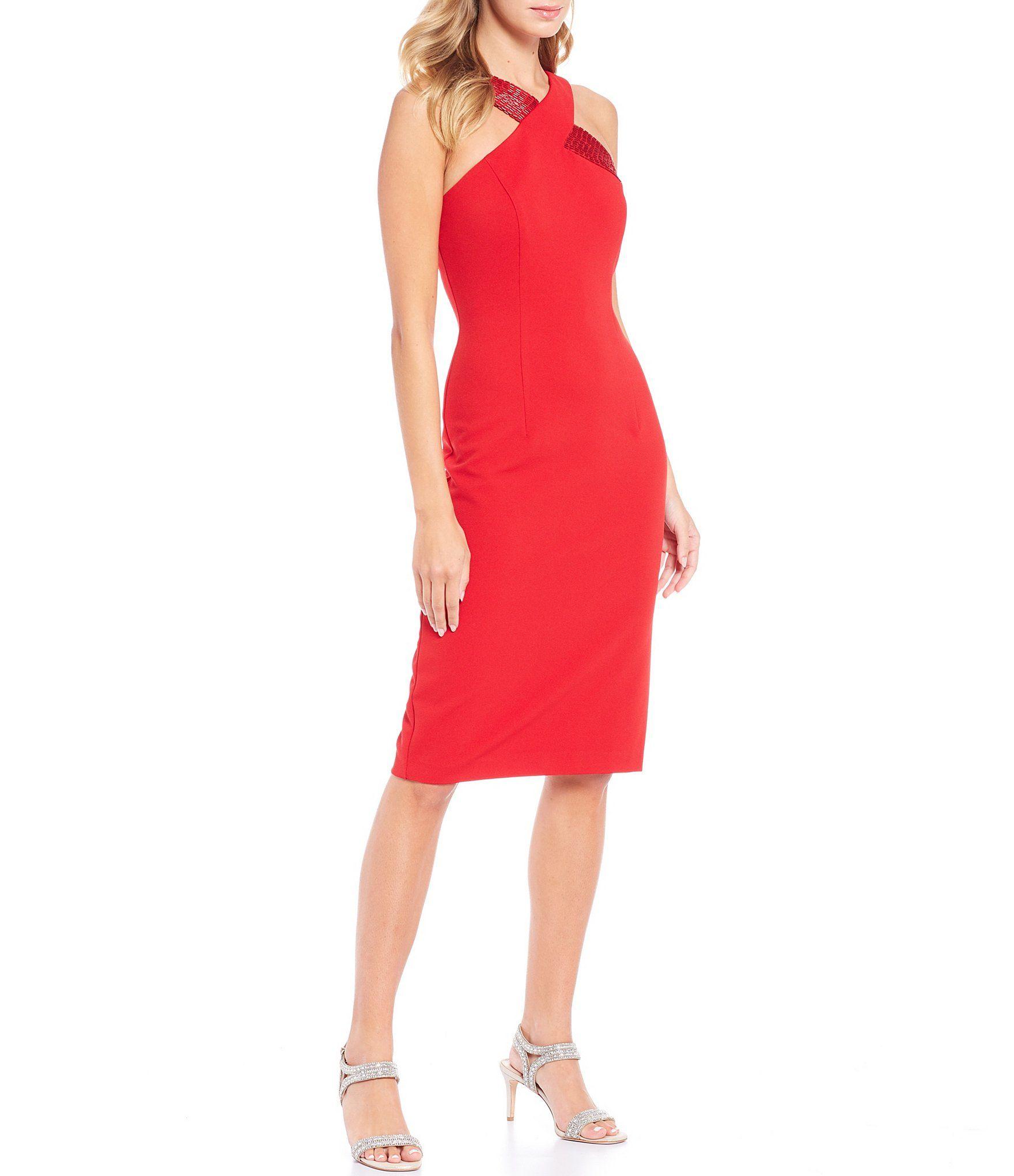 Adrianna Papell Beaded Halter Ottoman Knit Square Back Cocktail Dress | Dillard's