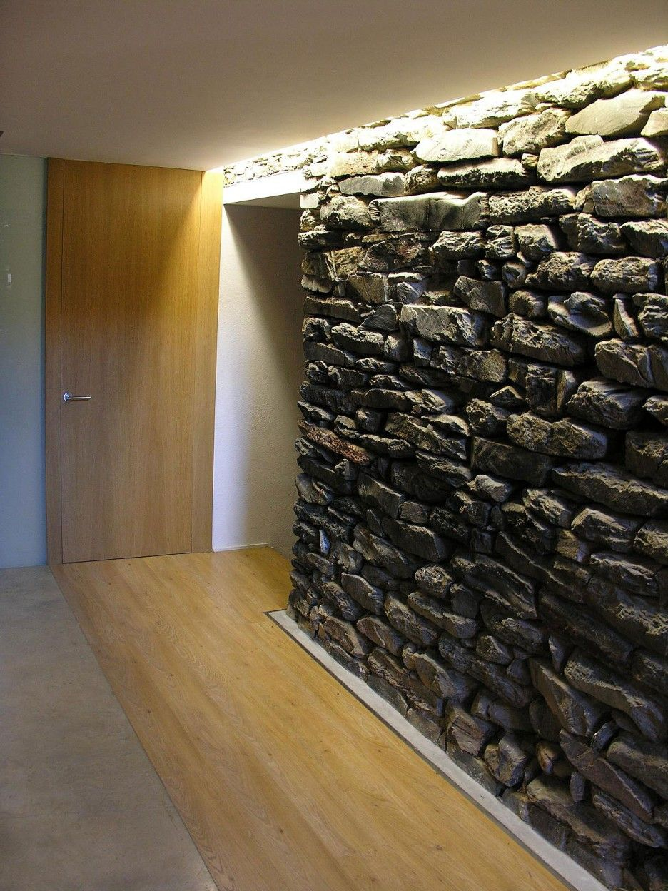 Charming Village Residence With Eclectic Theme: Mysterious Mas La Riba  House Interior With Stone Veneer Studded Over The Center Wall With Wo.