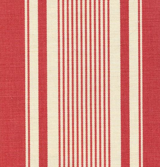 French Ticking Linen Fabric Red Ticking Stripe Printed On Off