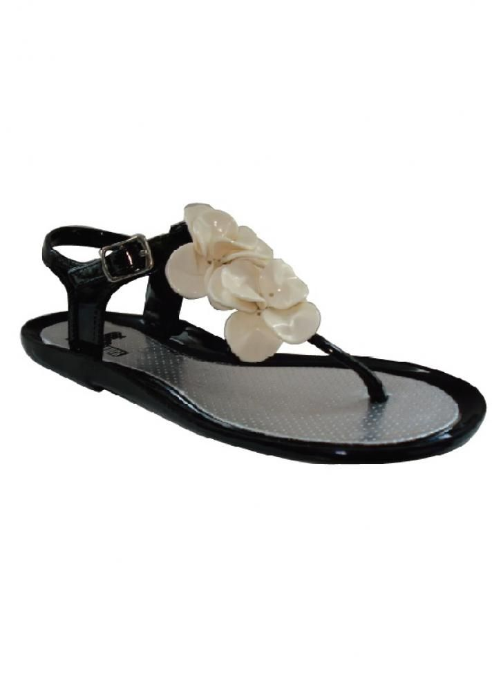 3c377b4cfbbc Black T Bar Jelly Sandals