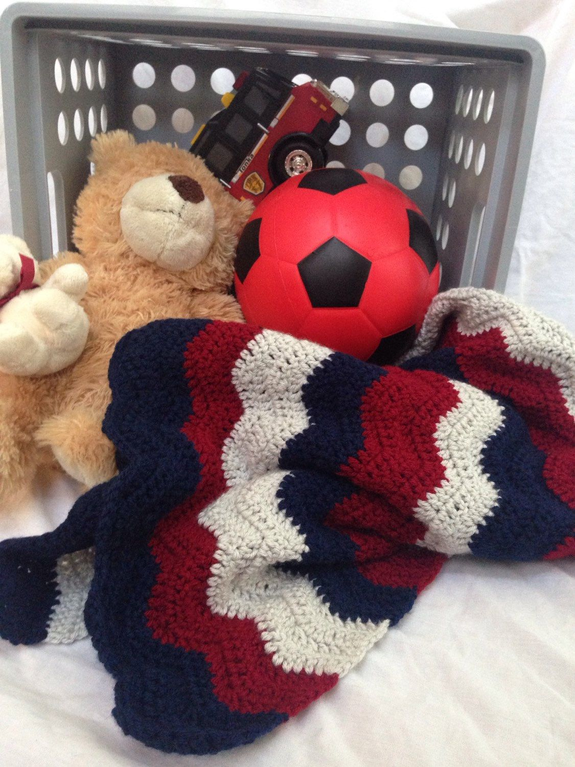 Baby boy blanket. Navy red and gray afghan. Nursery decor. Baby shower gift idea. Baby boy bedding