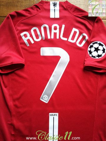 Cristiano Ronaldo s 2007 2008 Champions League vintage Nike Manchester  United home football shirt. a993b8359