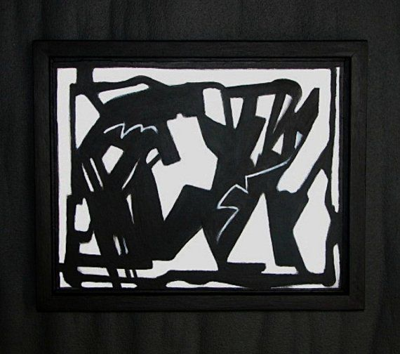 """""""Mid Century Modern Black & White Abstract Painting #urban #graffiti #art by Will Wieber"""""""