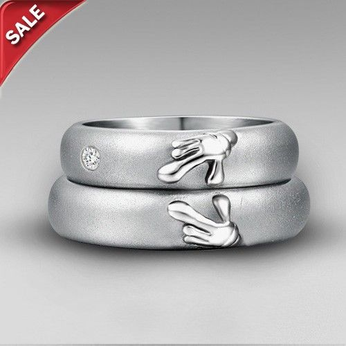 Titanium 'Forever Love' Matching Heart Wedding Bands Couple Rings