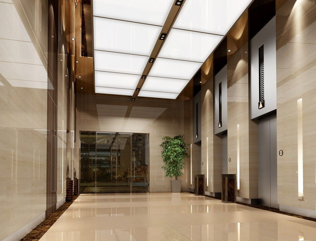 Elevator hallway ceiling interior design 3d inspiration for Lobby ceiling design
