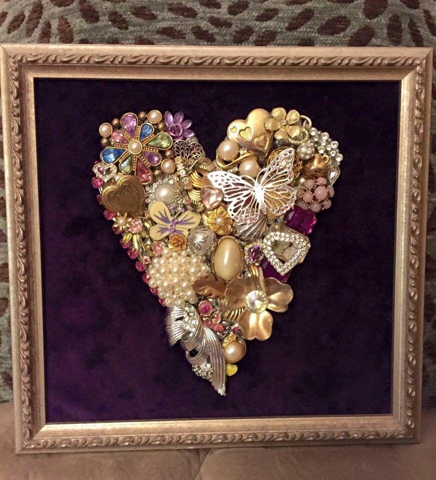 handmade upcycled vintage jewelry heart framed artwork mosaic hearts herz und basteln. Black Bedroom Furniture Sets. Home Design Ideas