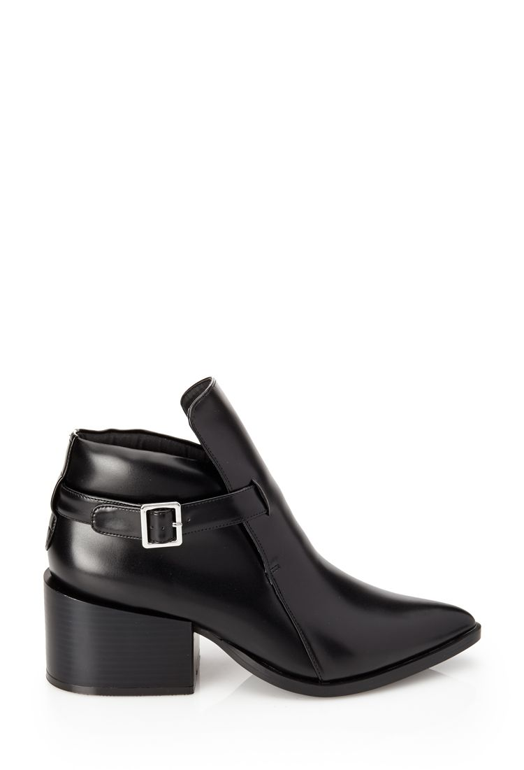 Pointed Faux Leather Booties - SHOES - 2000102489 - Forever 21 UK