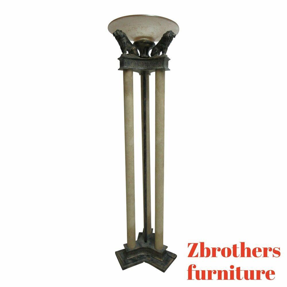 Cambridge Floor Pole Lamps Neoclassical Figural Lion With Shade Neoclassical Cambridge Floor Pole Lamps Pole Lamps Metal Lamp