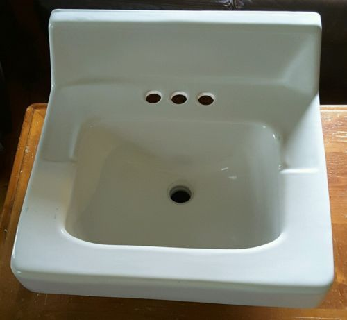 Vintage 1970s Kohler white high back bathroom sink back flow wall ...