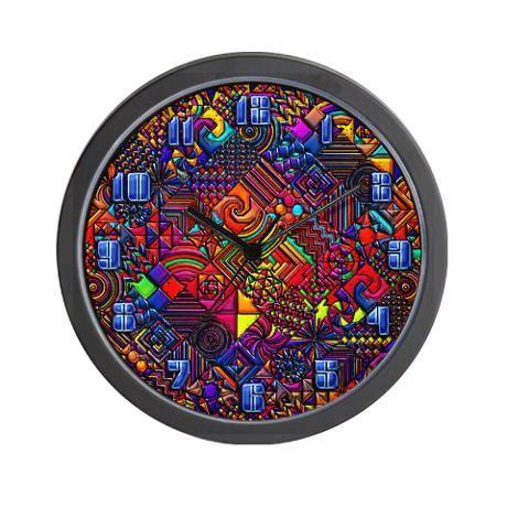 $18.00 digital quilt modern retro Wall Clock