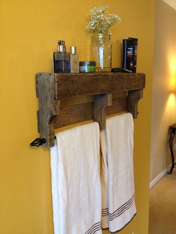DIY Rustic Wood Pallet Towel Rack Shelf Bathroom- Paint rustic white. Flowers, and picture on top.