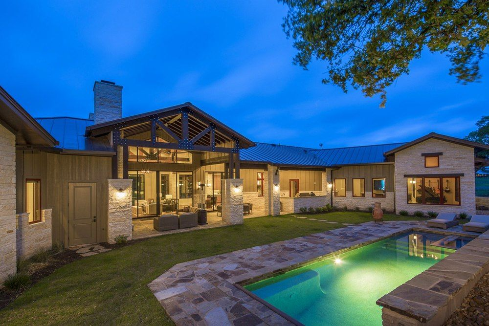 Architecture Home Hill country farmhouse pool Hill
