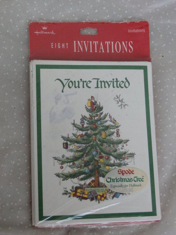 Vintage Spode Christmas Tree Hallmark Invitation Cards -package of 8