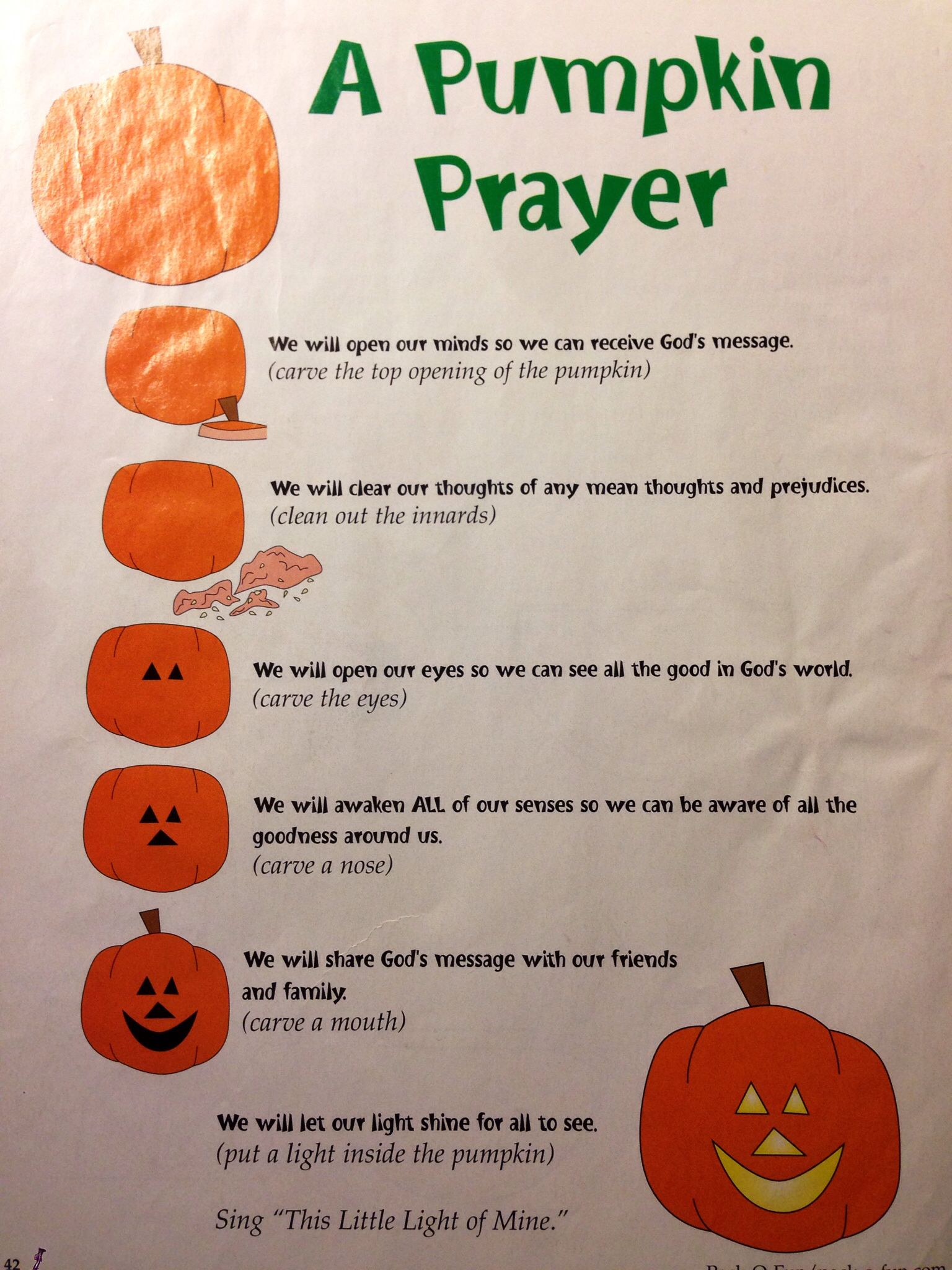 A Pumpkin Prayer Found This Sheet I Took Out Of An Old