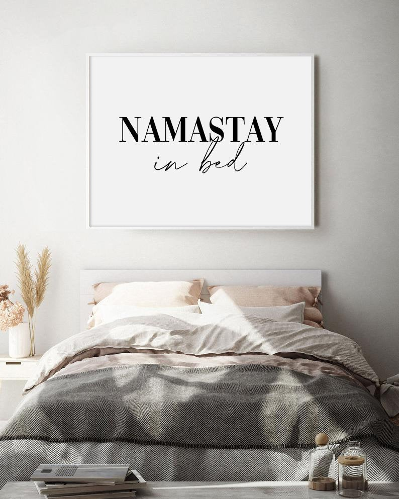 Namastay In Bed Bedroom Decor Modern Minimalist Black Etsy Bedroom Wall Art Bedroom Design Trends Printable Wall Art Etsy