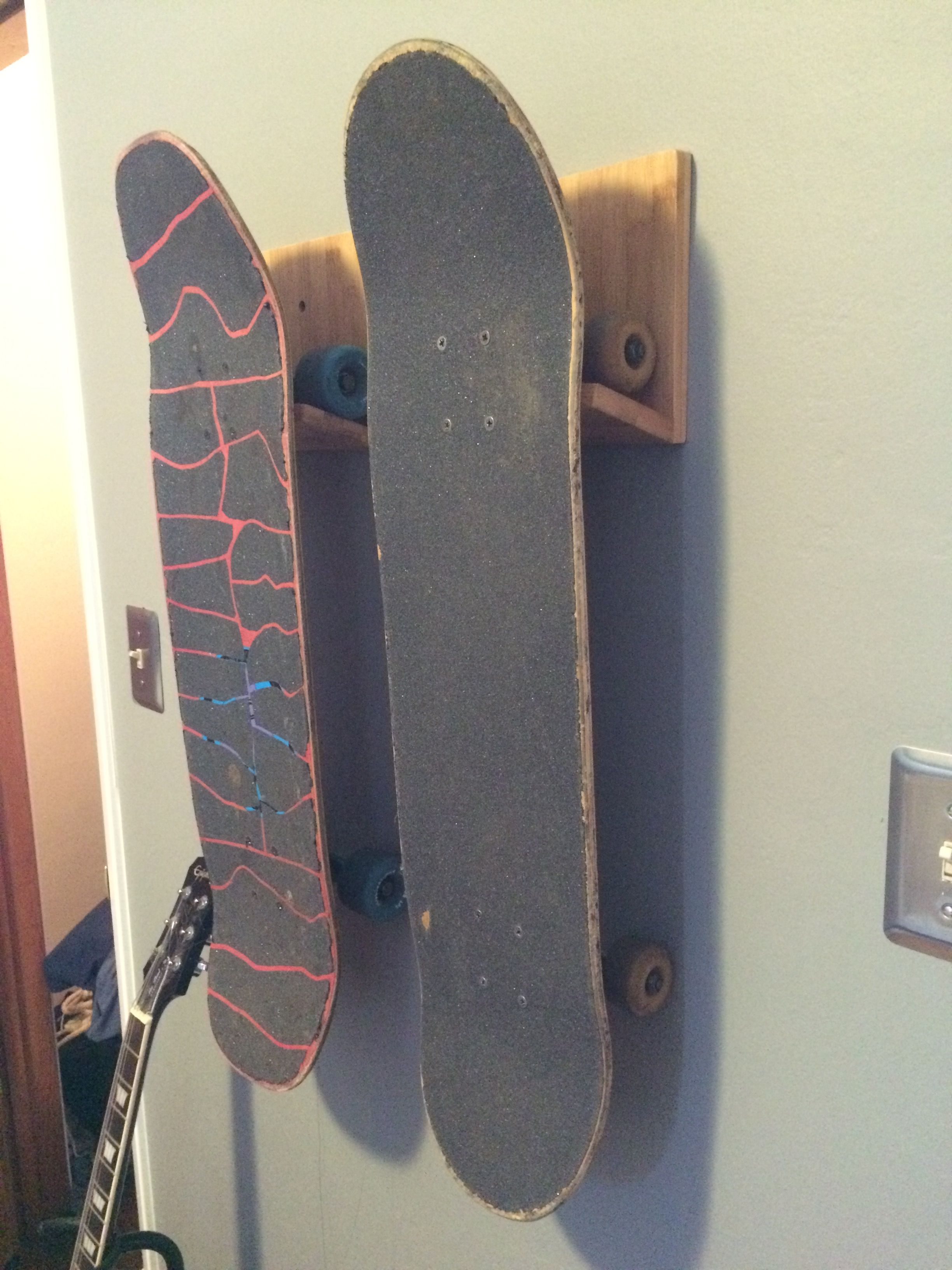 Bamboo Wooden Skateboard Wall Rack Storage