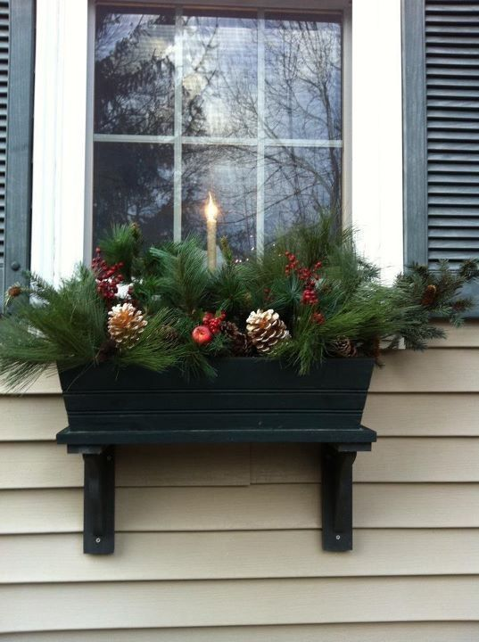 Easy Window Box Decorating Using Artificial Greens Holiday Unique Christmas Window Box Decorations