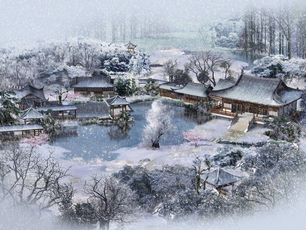japanese village in winter wallpaper great rpg settings