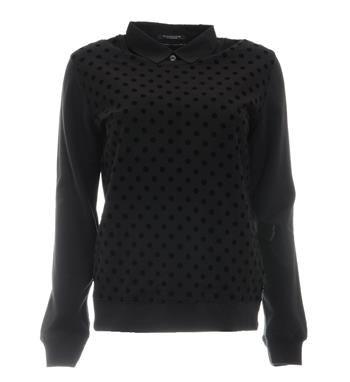 Maison Scotch sweater in een all over stippen dessin en uni mouwen. Deze sweater is voorzien van een uitneembaar kraagje - Zwart - NummerZestien.eu