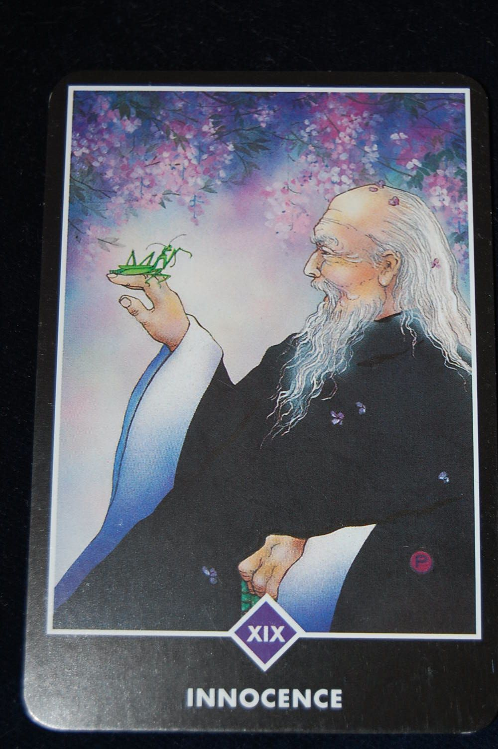 Osho Zen Tarot - Innoncence (The Sun) - An old man with a long beard and flowing robes marvels at the grasshopper on his hand.