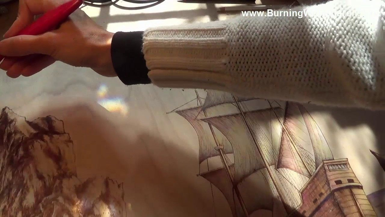 Pyrography Adding Color to your Seascape Woodburning