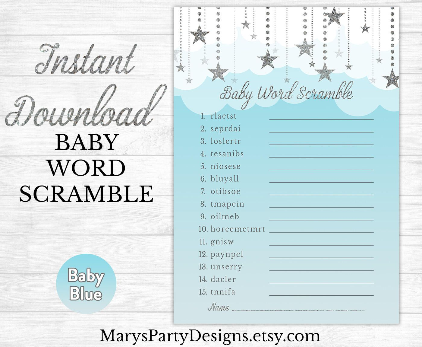 Baby Word Scramble Baby Shower Game Heaven Sent Twinkle