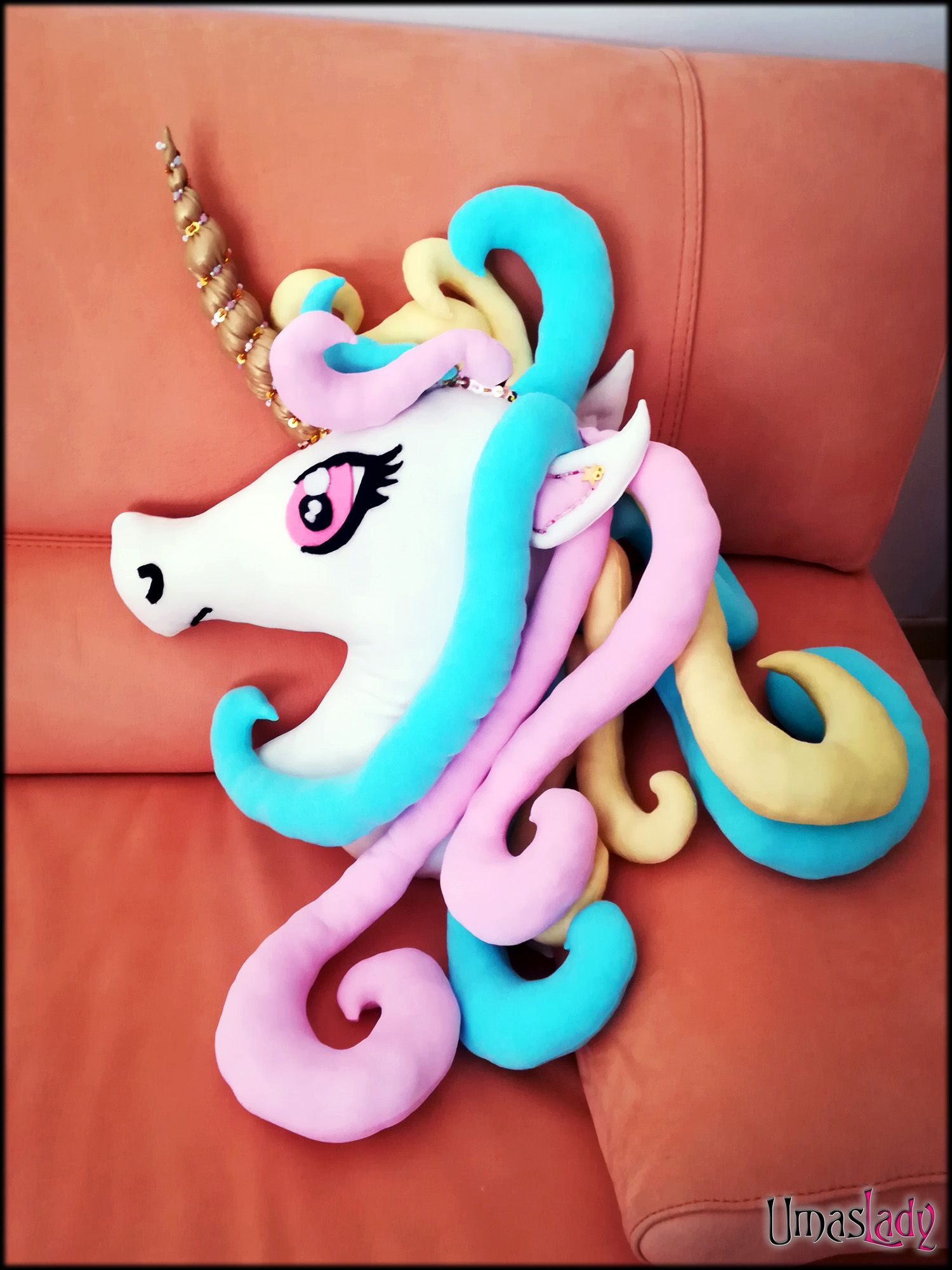 Rainbow Unicorn Head Plush Rainbow Pastel Unicorn Head