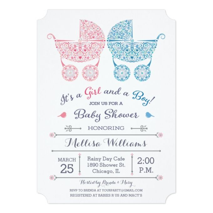 it s a girl and a boy twins baby shower invite photography