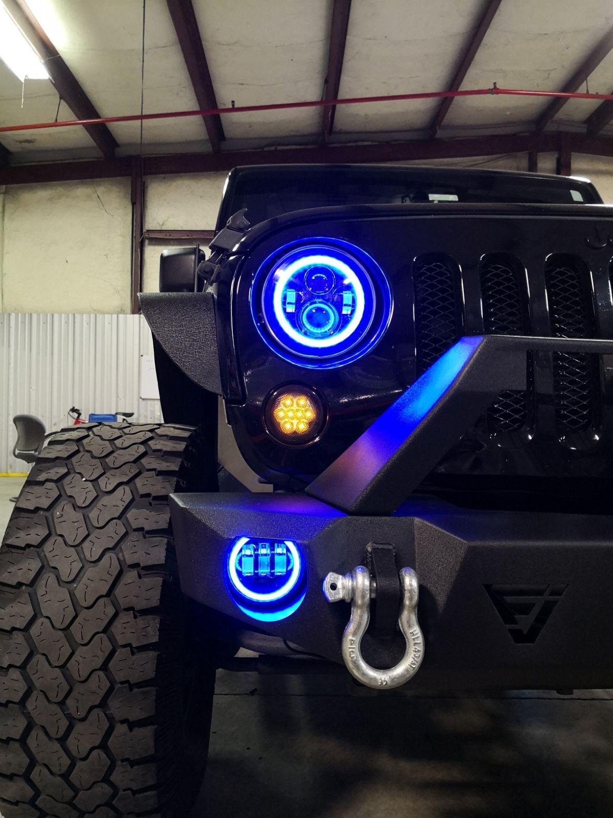 Jeep Led Headlights And Led Fog Lights Color Changing Jeep Wrangler Interior Jeep Lights Jeep Wrangler Headlights