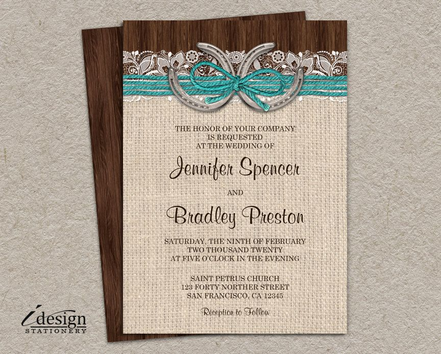 Country Western Horseshoe Wedding Invitation | Printable Rustic ...