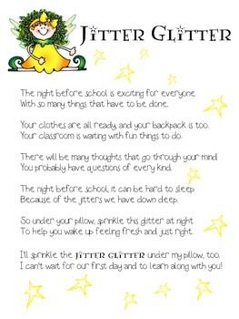 picture about Jitter Glitter Poem Printable titled Jitter Glitter freebie Elements for Faculty Jitter
