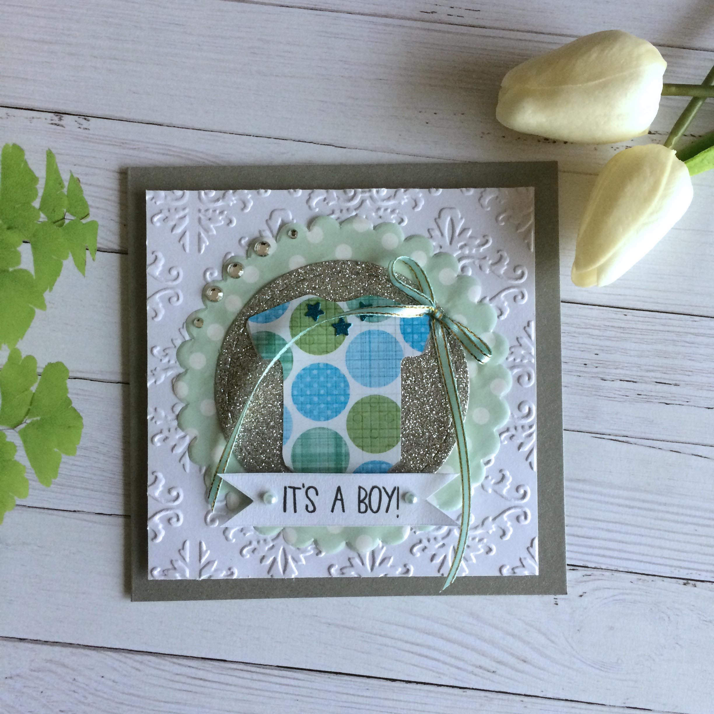 It S A Boy Cute Baby Onesie Card Handmade Cards Cute Pattern