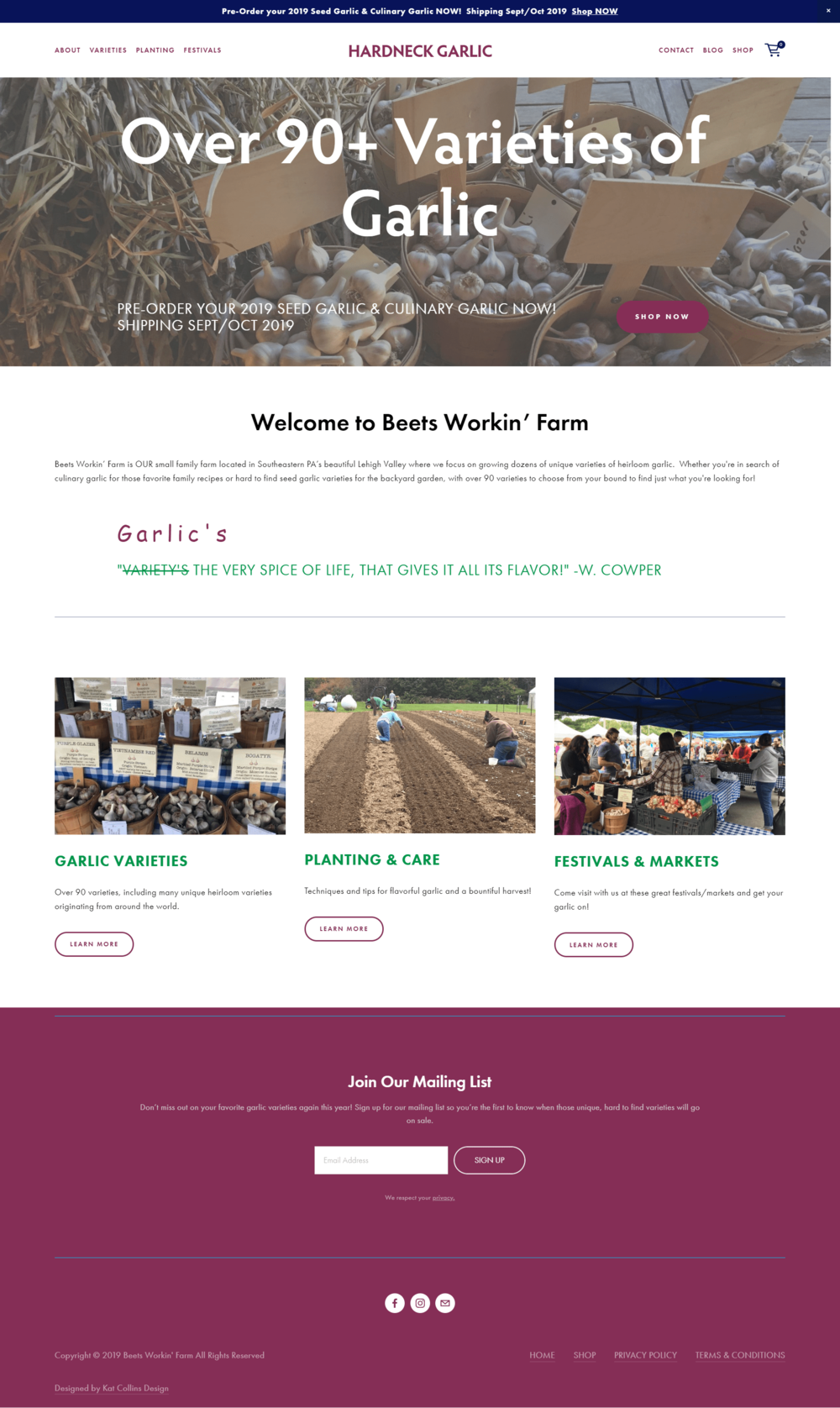 Hardneck Garlic Website Redesign And Ecommerce Portfolio Web Design Website Redesign Portfolio Design