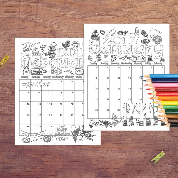 2017 Coloring Calendar Coloring pages Instant by ArtisintheHeart ...