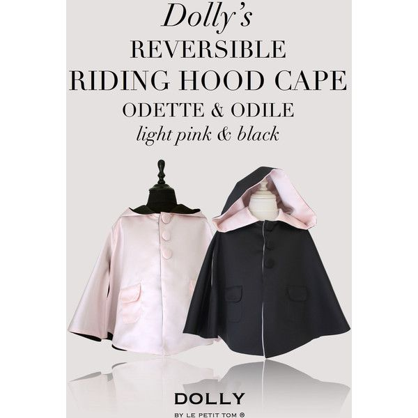 DOLLY by Le Petit Tom REVERSIBLE RIDING HOOD CAPE Odette Odile 'Swan... ($176) ❤ liked on Polyvore featuring odette