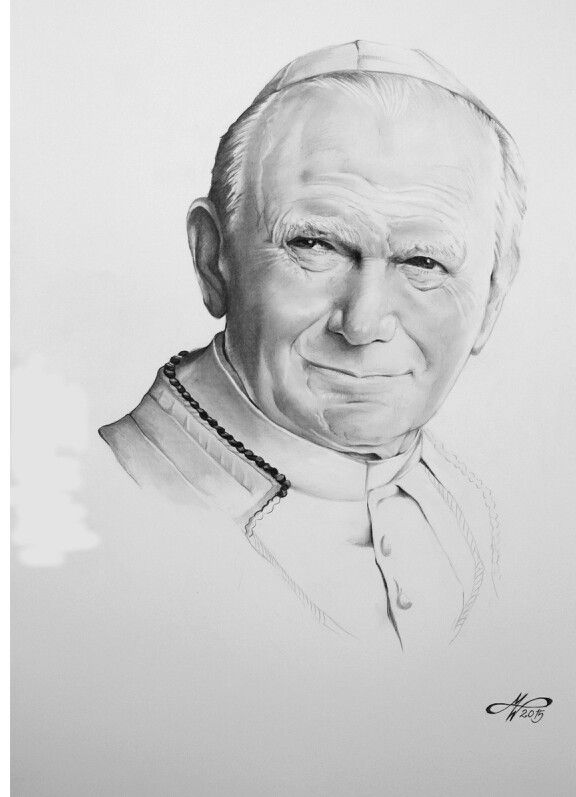 Pencil Charcoal Drawing Portrit Of Pope Juan Pablo Ii Portrait Drawing Charcoal Drawing Drawings