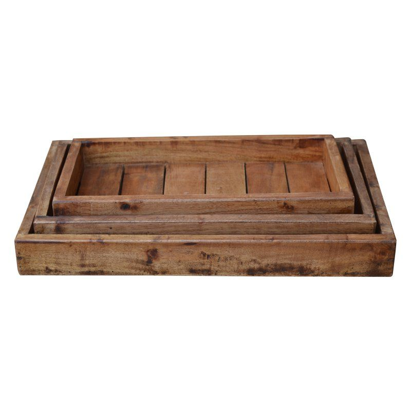 Decorative Trays A And B Home Recycled Wood Decorative Trays  Set Of 3  42111