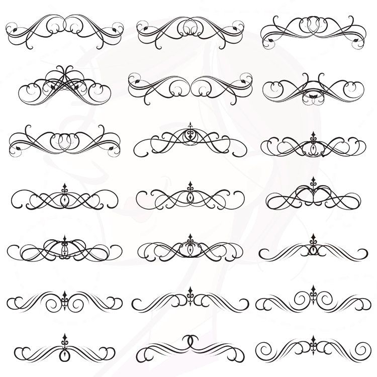 Digital Clipart Flourish Clip Art Swirls Vintage Design Elements Decorative Victorian Gothic Decor Wedding Classic Border Calligraphy 10304