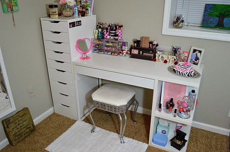 Vanity And Makeup Storage IKEA Alex 9 And MICKE Desk With Integrated Storage
