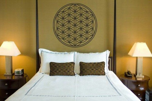 Schlafzimmer Wandgestaltung ~ Blumen des lebens wanddeko schlafzimmer gestalten wandgestaltung