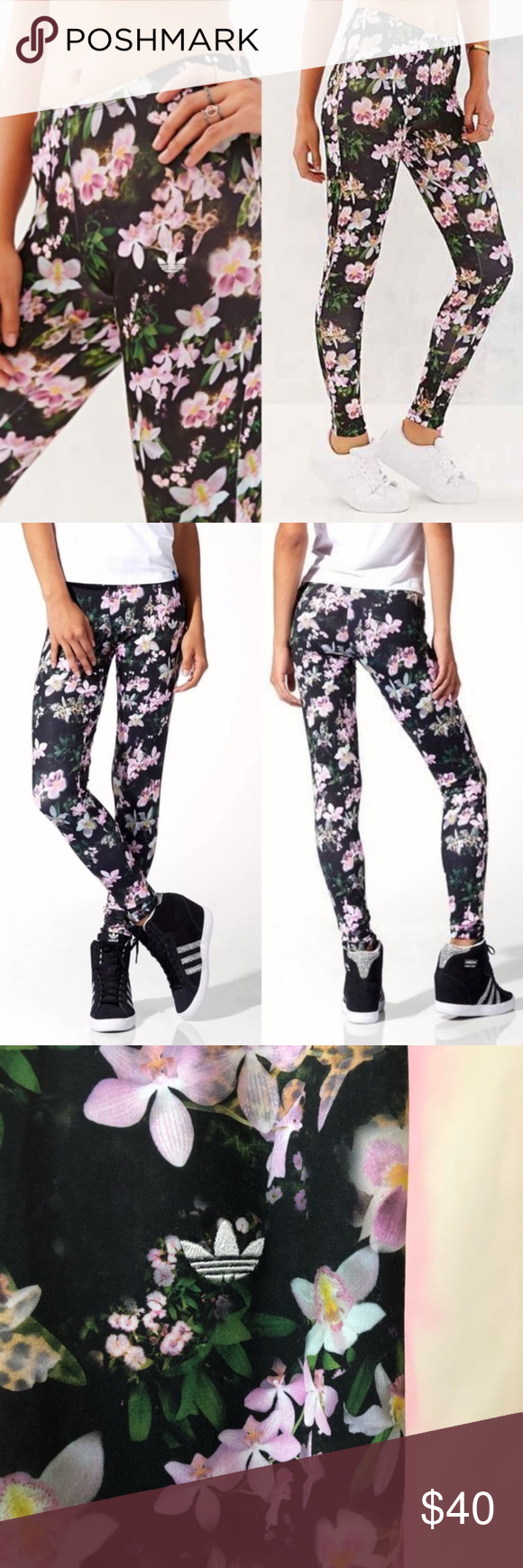 3603ec95da425 Adidas Originals Orchid Floral Full Legging Floral Stretch leggings  All-over orchids print Elastic waistband Lightweight for comfort FIT:  Stretch fit ...