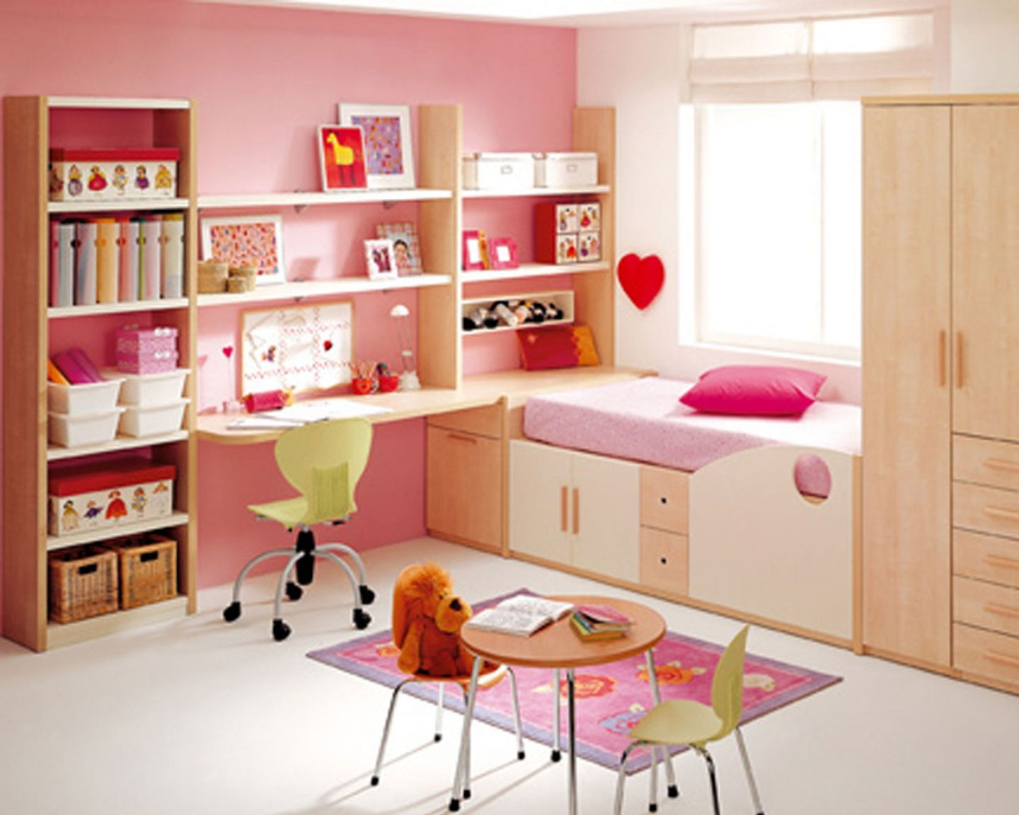 Feminine Pink Teenage Girls Room Designs : Minimalist Pink And White  Teenage Girls Room With Functional