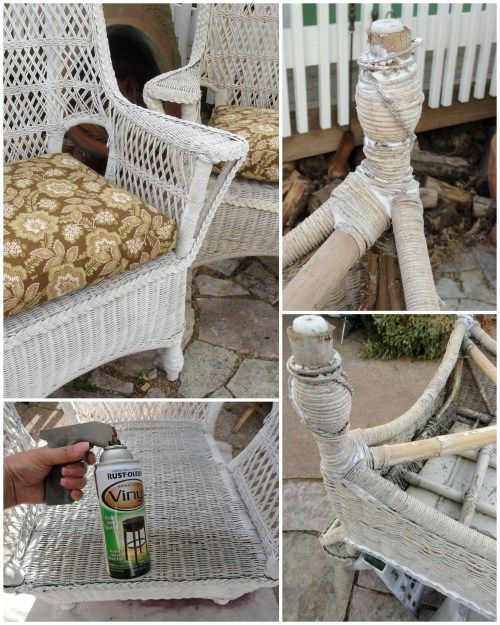 Vinyl Wicker Chairs White Tufted Dining My Old Patio Paint Techniques Repairing Using Spray