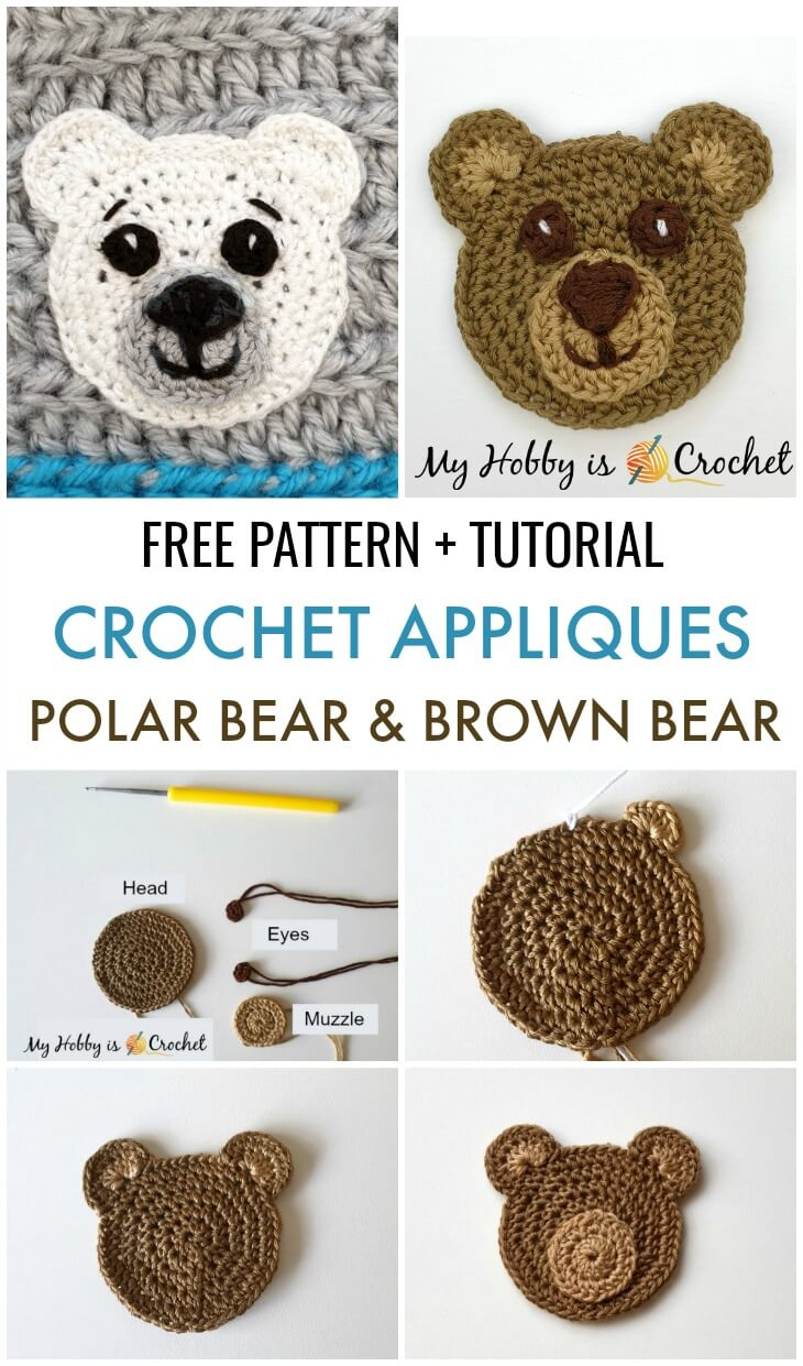 Polar Bear & Brown Bear Appliques - Free Crochet Pattern #crochetapplicates