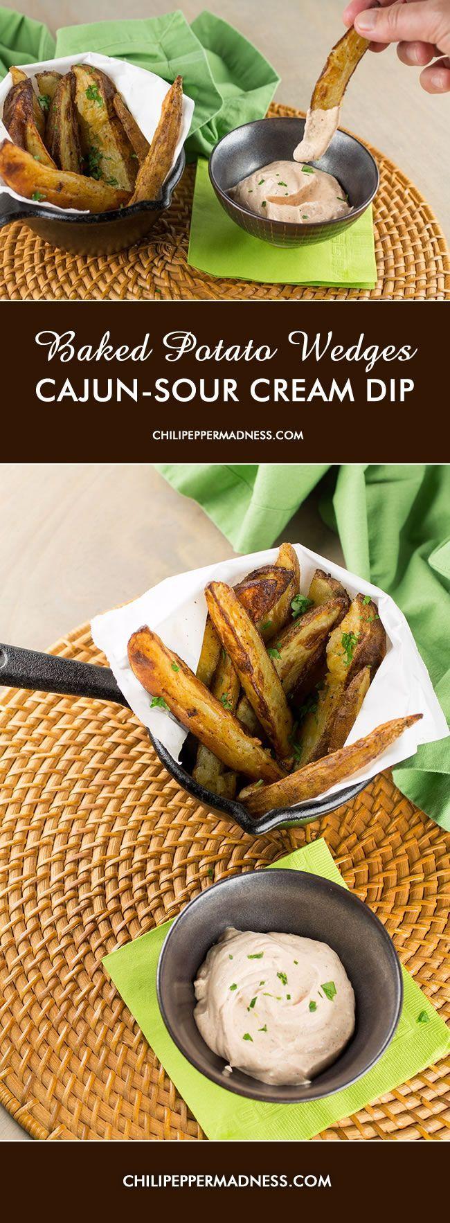Baked Potato Wedges With Cajun Sour Cream Sauce Spicy Recipes Sour Cream Sauce Appetizer Recipes